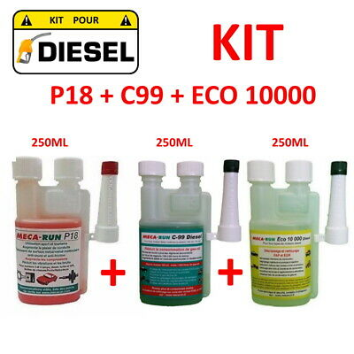 "Mecarun - Kit Additif Traitement ""Diesel"" P18 + C99 + Eco10000"