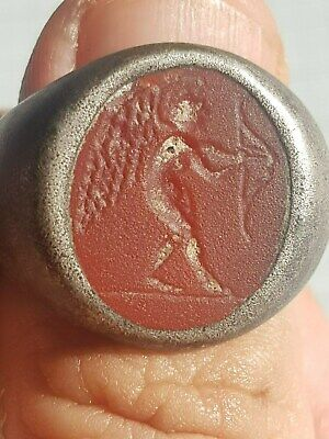 Very Rare Roman Silver Ring with Gem, Cupid 25g 1-2 AD  100% Authentic!