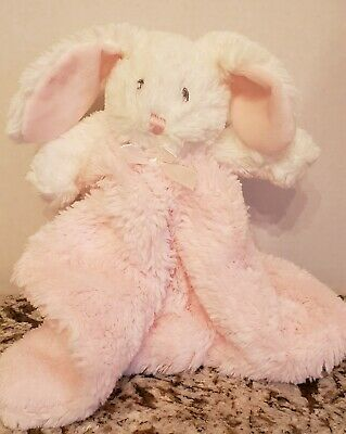 Blankets and Beyond Bunny Rabbit Pink White Security Blanket Lovey Plush Baby.