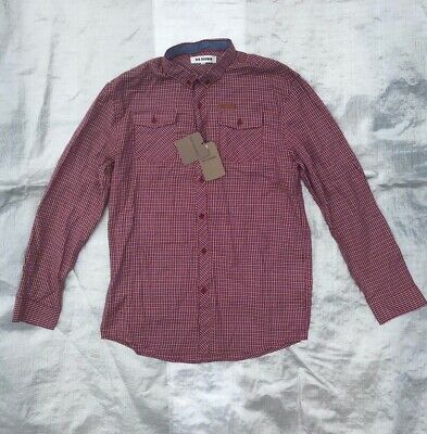 "Bnwt Boy's "" Ben Sherman "" Crimson Gingham Long Sleeve Shirt - 14 / 15 Years !"