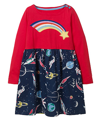 Mini Boden Hotchpotch Jersey Rainbow Space Fit & Flare Dress RRP £26 2yrs-12yrs