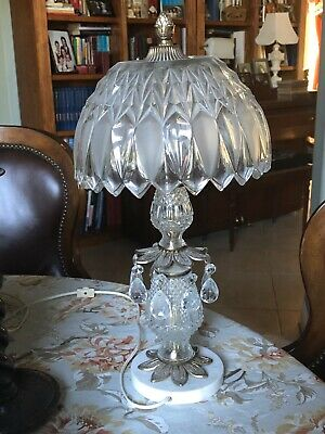 Vintage Cut Crystal Table Lamp With Prisms 19 Tall Full