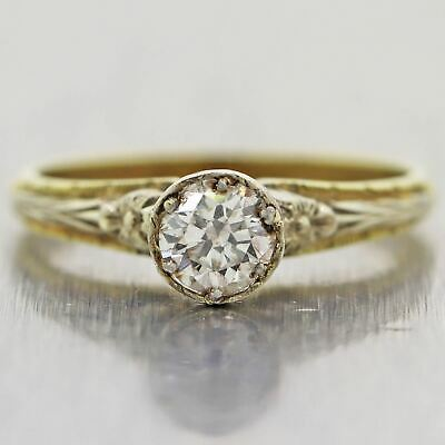 1890's Antique Victorian 18k Yellow Gold 0.38ct Diamond Solitaire Ring