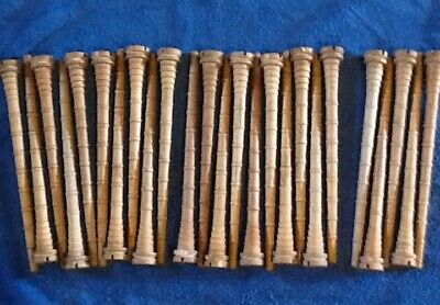 Vintage Wooden Industrial Thread Textile Spool Bobbin Quill Lot of 25. 12 In.