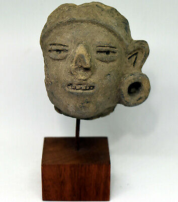 Ancient Authentic Pre-Columbian Carved Clay Face/Head #10