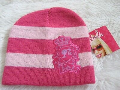 Girls Barbie Cerise Pink Pale Pink Striped warm medium knitted Beanie Hat Age 3