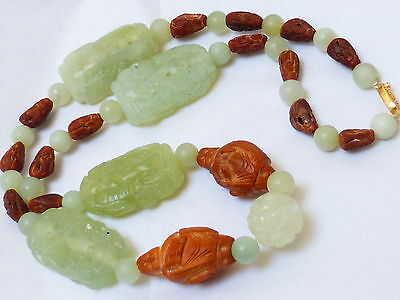 Chinese Vintage Carved Green Jade & Carved Nuts Beads Necklace, Silver Clasp