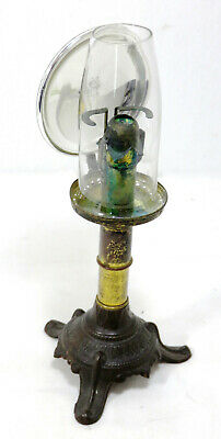 Rare! Antique Dr Hinds Pat. 1864 Medical Exam Brass & Cast Iron Candle Lamp