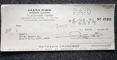 Glenn Ford and George Peppard signed bank checks Bank of America '74' 75