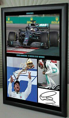 "Lewis Hamilton Wins Russia 2019 F1 A4 Framed Canvas Signed Print ""Great Gift"" #2"