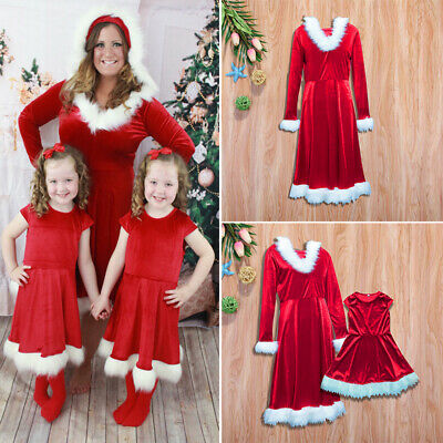 New Christmas Mother Daughter Dress Long Sleeve Xmas Family Matching Clothes Red