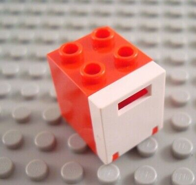 LEGO Black 2x2x2 Container with Translucent Red Door
