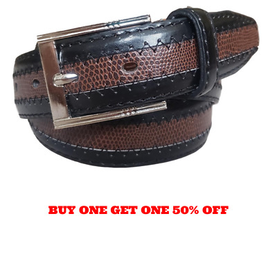 Mens Leather Casual Dress Black And Brown Belt Silver Buckle Size S / M / L / XL