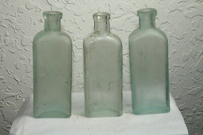 Lot of 3 Antique Aqua Three in One Oil Co Sewing Machine Bottles G W Cole Co
