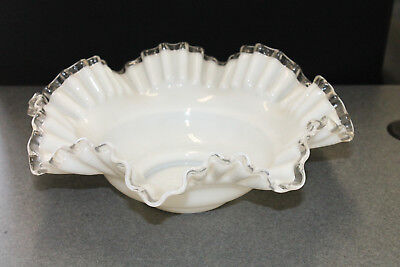 Vintage Antique Fenton Silvercrest Ruffled Wedding Bowl White Milk Glass Art