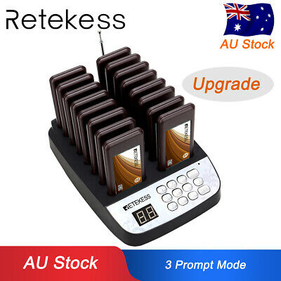 Retekess 99CH Restaurant Wireless Paging Queuing System+16xCall Coaster Pager AU