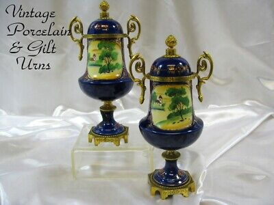 """Antique French Style Cobalt & Gilt w/Bronze Mounted Mantle Urns 9""""T"""