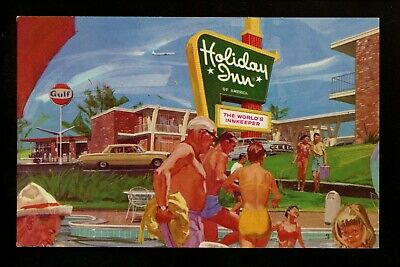Holiday Inn Motel Hotel Postcard New Jersey NJ Cherry Hill Gulf Gas pool artist