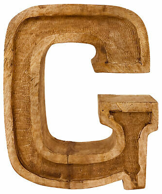 G Hand Carved Antique Style Large Wooden Rustic Wedding Letters Decoration