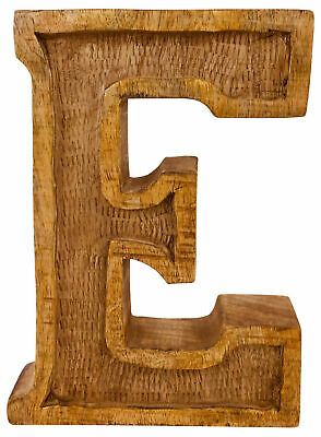 Antique Style Freestanding Letters Hand Carved Large Wooden Ornaments Names E
