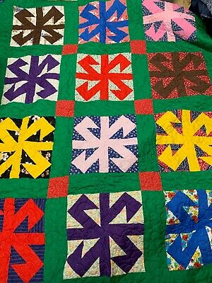 "Vintage New Custom Quilted 72 x 93"" Jack in the Box Patchwork Quilt"