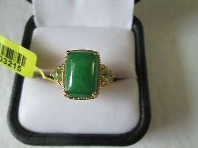 Burmese Green Jade Yellow Gold over Sterling Silv Ring (Sz 7) TGW 8.20 cts.