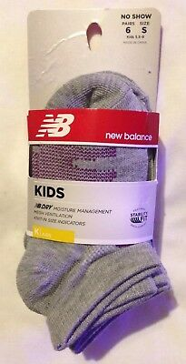 New Balance Children's No Show Socks Small 5.5-9 Shoe, Pack Of 6, Gray, NWT