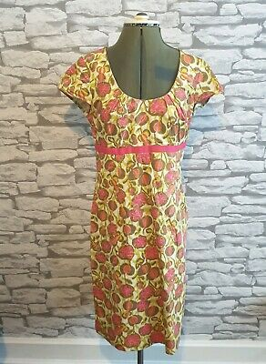 Boden Lime Green & Pink Retro Style 50s Floral Dress Size 10 uk Summer holidays