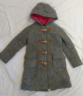 Girls Mini Boden Grey Wool Duffle Winter Coat With Pink Lining - Age 5-6 Years