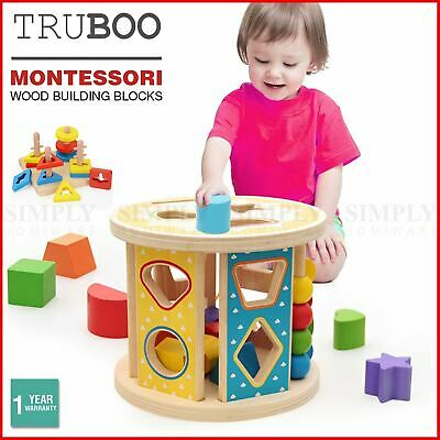 Truboo Kids Wooden Building Blocks Educational Toy Set Stacking Montessori Play