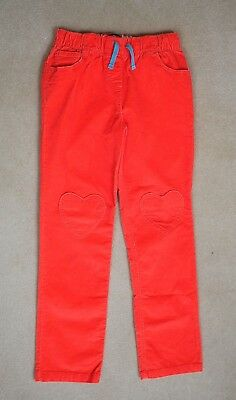 Mini Boden Girl Age 11Yrs Orange/Red Cotton Corduroy Trousers Jeans Heart Pocket
