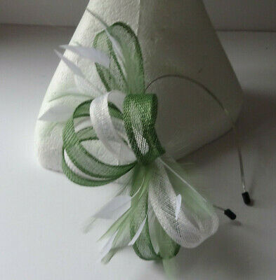 Khaki/Eden green fascinator on headband for wedding/mother of the bride/races