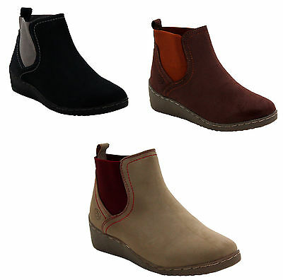 Womens Ladies Low Wedge Heel Elasticated casual Riding Chelsea Ankle Boots Shoes