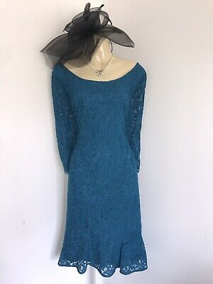 JACQUES VERT Size 18 Teal Lace Dress Mother Of The Bride Blue Green Wedding