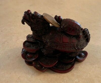 Feng Shui Dragon Turtle Red Statue Fortune Chinese (Mythical Stone Figurine)