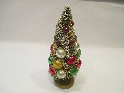 """Vintage 9"""" Bottle Brush Christmas With Ornaments Gold/Flock See Pictures"""