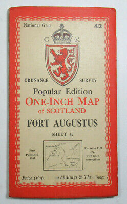 1947 Old OS Ordnance Survey Popular Edition One-Inch Map 42 Fort Augustus