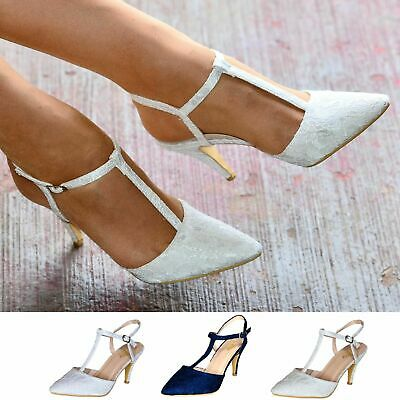 Ladies Lace Bridal Shoes High Heel TBar Ankle Strap Party Prom Bridesmaid Courts