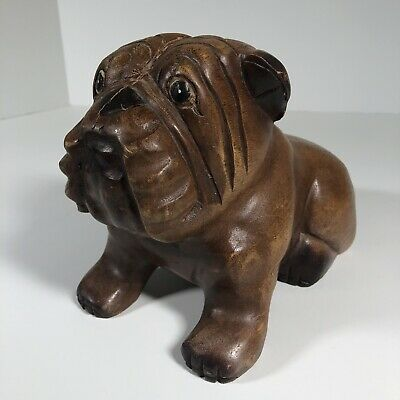 "Vintage Hand Carved Wooden Bulldog Carving 10""x7""x5"" 2 LBS+ Dog Themed Art"