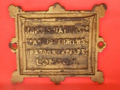 ANTIQUE HOBBS HART Co MANUFACTURERS LONDON PLAQUE BADGE COLLECTABLE PLATE OLD B1