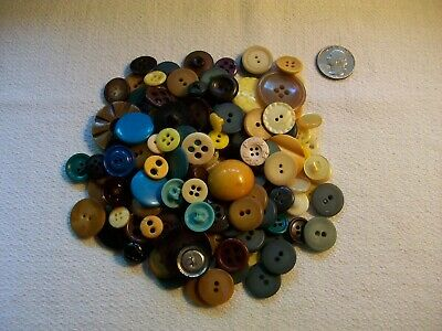 Vintage Antique Button Lot all colored buttons blue,green ,yellow, brown shades