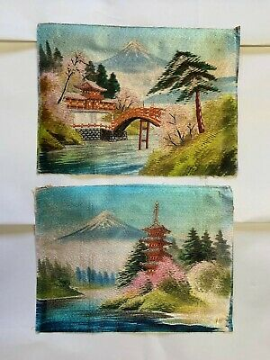 2 Antique Japanese Beautifully Hand Embroidered Silk Tapestry / Japanese Scenery