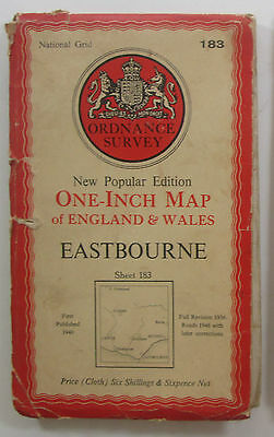 1946 Old OS Ordnance Survey one-inch map New Popular Edition 183 Eastbourne