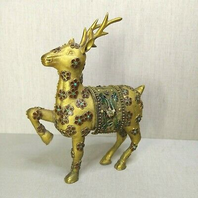 Vintage Chinese bronze with enamel figurine, 20th century.