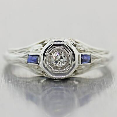 1930 Antique Art Deco 18k White Gold Diamond & Sapphire Filigree Engagement Ring