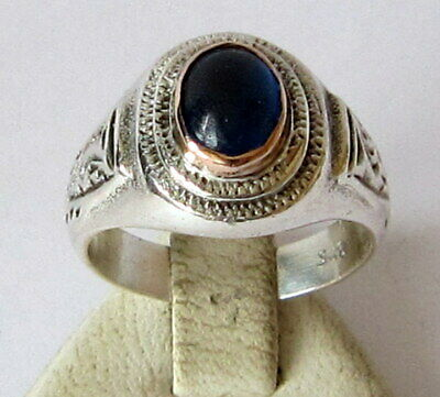 VINTAGE NICE SILVER RING WITH BLUE STONE FROM THE EARLY 20th CENTURY # 24C