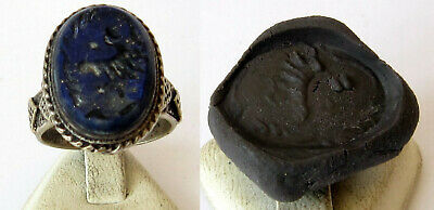 Antique Amazing Ottoman Silver Lapis Lazuli Intaglio Gem Personal Seal Ring # 31