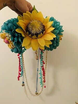 Handmade Festival Headdress Sunflower Pom Pom Colourful Rainbow Flower Crown