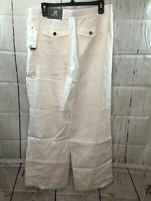 JM Collection SZ 8 Womens White Linen Pants Drawstring Lightweight