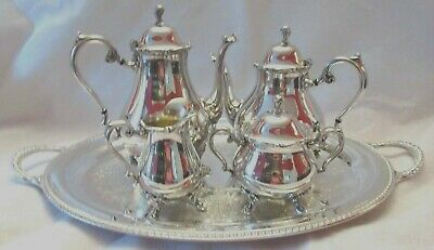 Wilcox Silverplate Joanne Tea and Coffee Service on Wm Rogers Tray